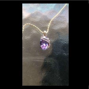 Jewelry - Lavendar Oval Pendant/Chain 14K Gold Overlay
